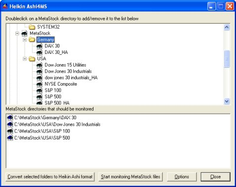 Create Heikin Ashi data files in MetaStock format